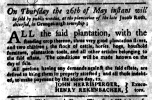 May 16 - South Carolina Gazette Supplement Slavery 1