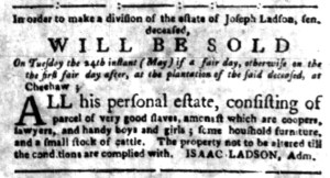 May 16 - South Carolina Gazette Supplement Slavery 5