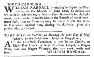 May 17 - South-Carolina Gazette and Country Journal Supplement Slavery 1