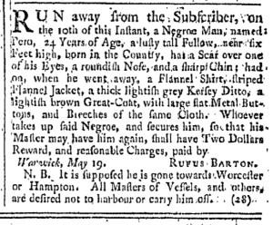 May 28 - Providence Gazette Slavery 2