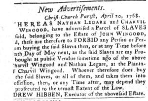 May 3 - South-Carolina Gazette and Country Journal Slavery 9