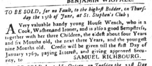 May 31 - South-Carolina Gazette and Country Journal Slavery 2