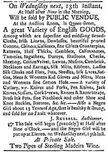 Jul 11 - Boston Evening-Post Slavery 1