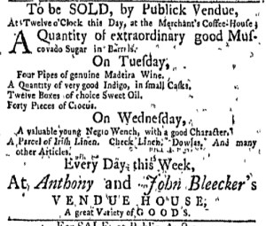 Jul 11 - New-York Gazette Weekly Mercury Slavery 1