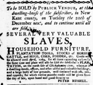Jul 7 - Virginia Gazette Purdie and Dixon Slavery 5