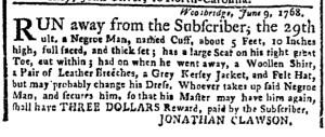 Jun 13 - New-York Gazette Weekly Post-Boy Slavery 1