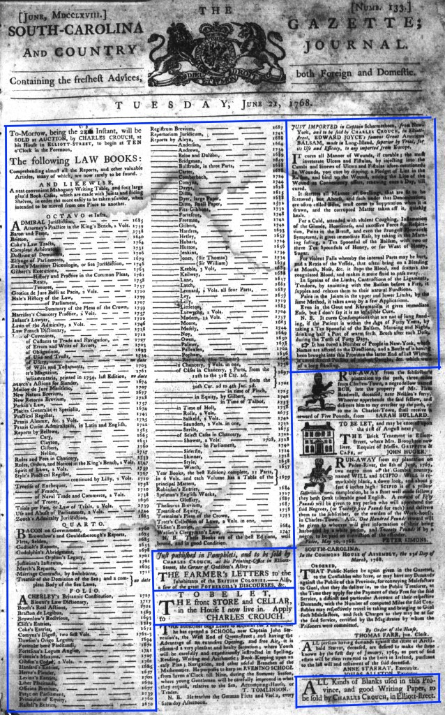 Jun 21 - 6:21:1768 South-Carolina Gazette and Country Journal Page 1