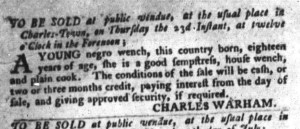 Jun 21 - South-Carolina Gazette and Country Journal Slavery 10