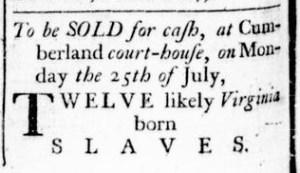 Jun 30 - Virginia Gazette Rind Slavery 1