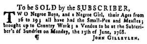 Jun 9 - Pennsylvania Gazette Supplement Slavery 2