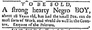 Aug 1 - Boston Evening-Post Slavery 2
