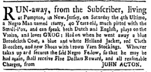 Aug 1 - New-York Gazette Weekly Mercury Slavery 3