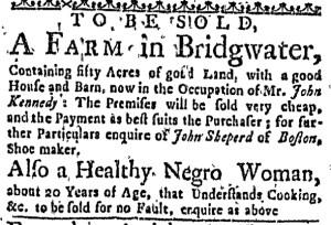 Aug 4 - Boston Weekly News-Letter Slavery 1