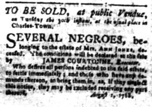 Aug 8 - South-Carolina Gazette Slavery 1