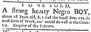 Jul 18 - Boston Evening-Post Slavery 1