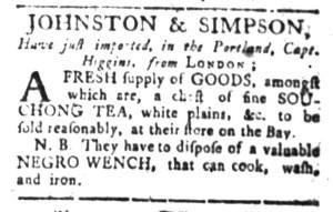 Jul 18 - South-Carolina Gazette Slavery 1