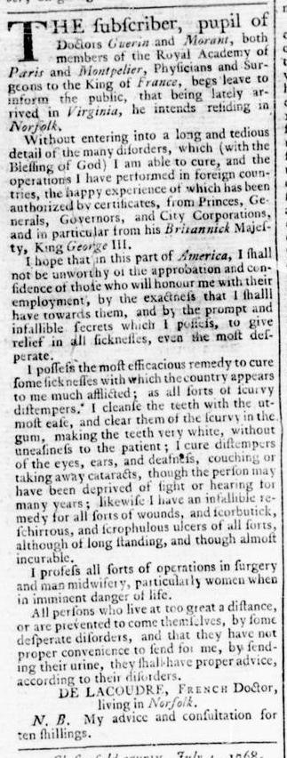Jul 21 - 7:21:1768 Virginia Gazette Rind