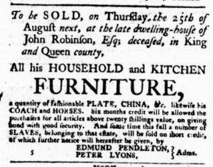 Jul 21 - Virginia Gazette Purdie and Dixon Slavery 1