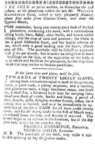 Aug 16 - South-Carolina Gazette and Country Journal Slavery 1