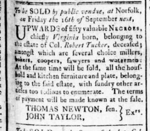 Aug 18 - Virginia Gazette Rind Slavery 1