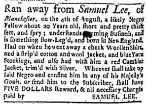 Aug 22 - Boston Evening-Post Supplement Slavery 1