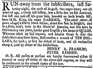 Aug 29 - New-York Gazette Weekly Mercury Slavery 2