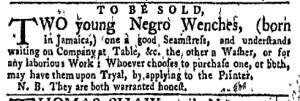 Aug 29 - New-York Gazette Weekly Mercury Supplement Slavery 1