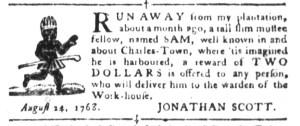 Aug 30 - South-Carolina Gazette and Country Journal Slavery 1