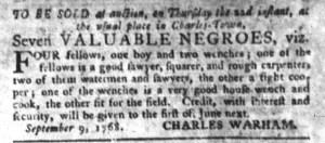 Sep 13 - South-Carolina Gazette and Country Journal Slavery 1