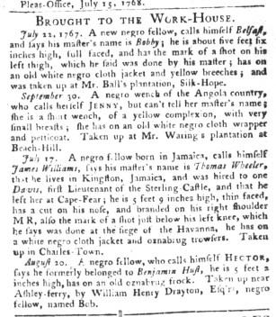 Sep 27 - South-Carolina Gazette and Country Journal Slavery 2