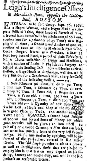 Sep 29 - Boston Weekly News-Letter Slavery 2