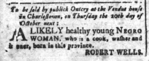 Sep 30 - South-Carolina and American General Gazette Slavery 1