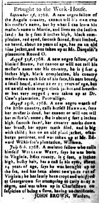 Sep 30 - South-Carolina and American General Gazette Slavery 4
