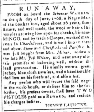 Sep 9 - South-Carolina and American General Gazette Slavery 6