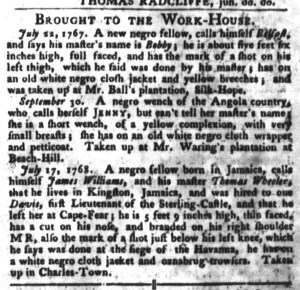 Nov 1 - South-Carolina Gazette and Country Journal Slavery 6