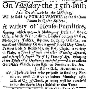 Nov 10 - Boston Weekly News-Letter Slavery 1