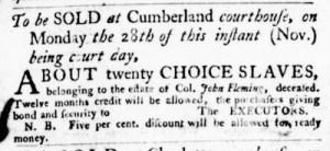 Nov 10 - Virginia Gazette Purdie and Dixon Slavery 1