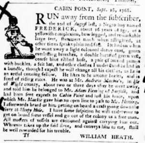 Nov 10 - Virginia Gazette Purdie and Dixon Slavery 10