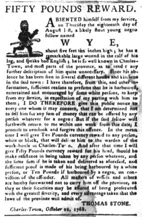 Nov 15 - South-Carolina Gazette and Country Journal Slavery 6
