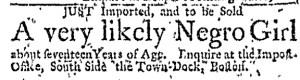Nov 3 - Boston Weekly News-Letter Slavery 2