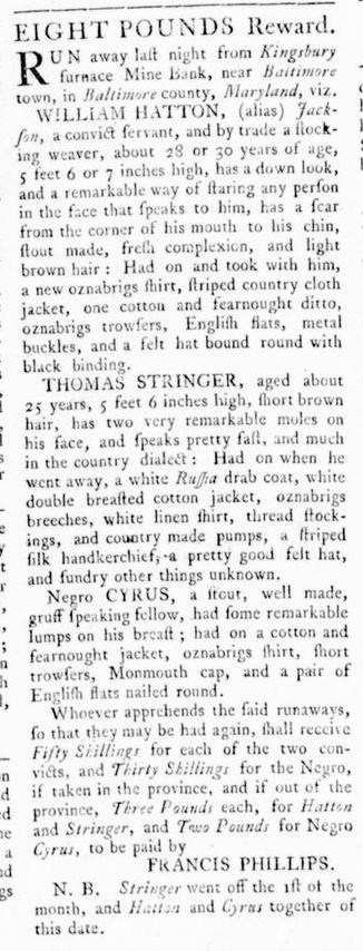 Nov 3 - Virginia Gazette Rind Slavery 7
