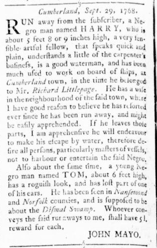 Nov 3 - Virginia Gazette Rind Slavery 8