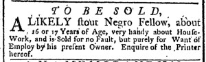 Nov 7 - New-York Gazette Weekly Post-Boy Slavery 1