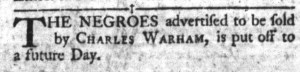 Nov 8 - South-Carolina Gazette and Country Journal Slavery 1