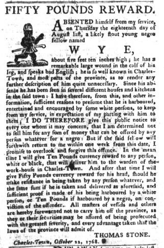 Nov 8 - South-Carolina Gazette and Country Journal Slavery 13