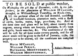 Nov 8 - South-Carolina Gazette and Country Journal Slavery 4
