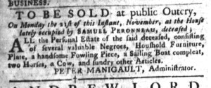 Nov 8 - South-Carolina Gazette and Country Journal Slavery 6
