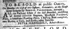 Nov 8 - South-Carolina Gazette and Country Journal Slavery 6