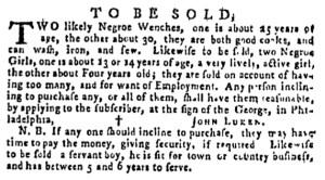 Oct 13 - Pennsylvania Gazette Supplement Slavery 1