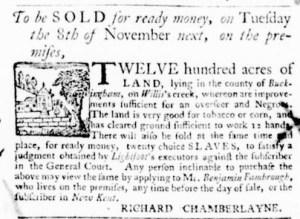 Oct 27 - Virginia Gazette Purdie and Dixon Supplement Slavery 1